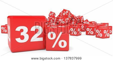 Red Sale Cubes. Thirty Two Percent Discount.