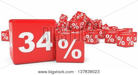 Red Sale Cubes. Thirty Four Percent Discount.