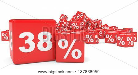 Red Sale Cubes. Thirty Eight Percent Discount.