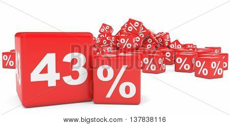 Red Sale Cubes. Forty Three Percent Discount.