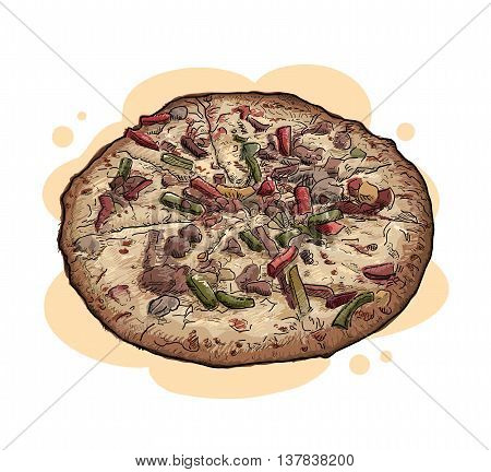 Super Supreme Pizza, a hand drawn vector illustration of a super supreme pizza, isolated on a simple background (on separate group).