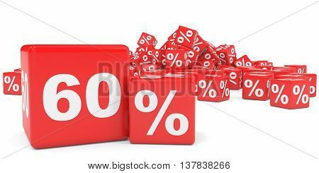 Red Sale Cubes. Sixty Percent Discount.
