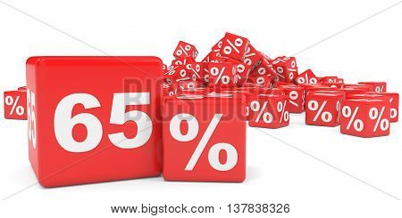 Red Sale Cubes. Sixty Five Percent Discount.