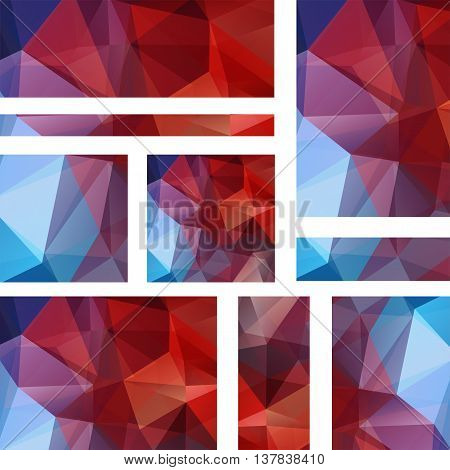 Vector Banners Set With Polygonal Abstract Triangles. Abstract Polygonal Low Poly Banners. Brown, Bl