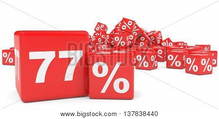 Red Sale Cubes. Seventy Seven Percent Discount.