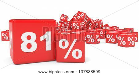 Red Sale Cubes. Eighty One Percent Discount.