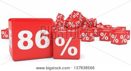Red Sale Cubes. Eighty Six Percent Discount.
