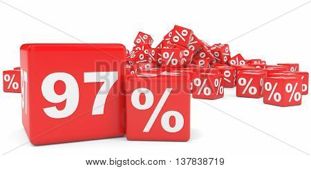 Red Sale Cubes. Ninety Seven Percent Discount.