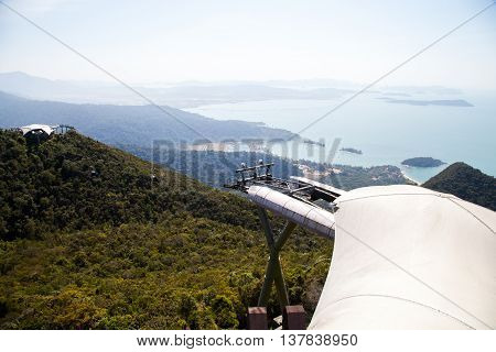 Langkawi, MALAYSIA - January 30 : View of Langkawi Cable car from a higher vantage point on the day of memory of fighters for independence in India on January 30, 2014.