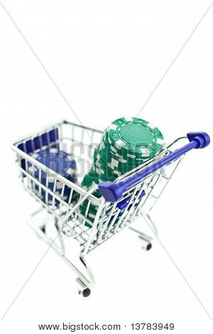 Color Poker Chips In Shopping Trolley