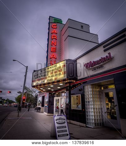 EDMONTON, CANADA - MAY 20: Historic Garneau movies theatre off Whyte Avenue at dusk on May 20, 2016 in Edmonton, Alberta. Whyte Ave is a famous culture district in Edmonton, with food and the arts.