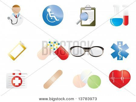 Collection of hospital and medical icons, vector illustration