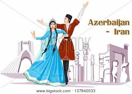 Vector design of Irani Couple performing Azerbaijan dance of Iran