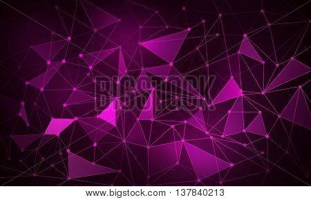 Background purple color image with connected lines and figures