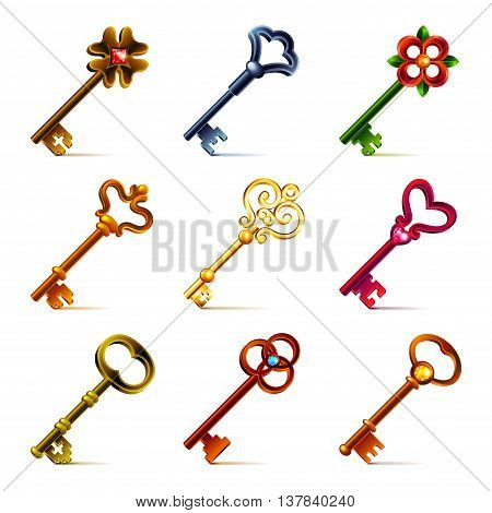 Old keys icons detailed photo realistic vector set