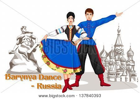 Vector design of Russian Couple performing Barynya dance of Russia