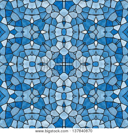 mosaic kaleidoscope seamless pattern texture background - blue colored with black grout