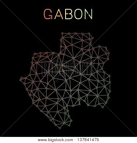 Gabon Network Map. Abstract Polygonal Map Design. Network Connections Vector Illustration.