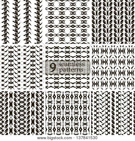 Set of 9 black and white seamless patterns. Abstract geometric ornaments with roundish elements and flourishes. Vector illustration for stylish creative design