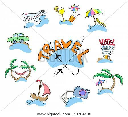 Collection of icons travel, vector illustration