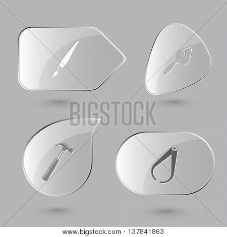 4 images: brush, trowel, hammer, caliper. Angularly set. Glass buttons on gray background. Vector icons.