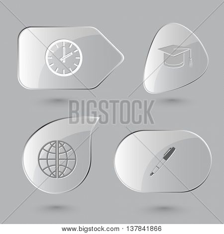 4 images: clock, graduation cap, globe, ink pen and pencil. Education set. Glass buttons on gray background. Vector icons.