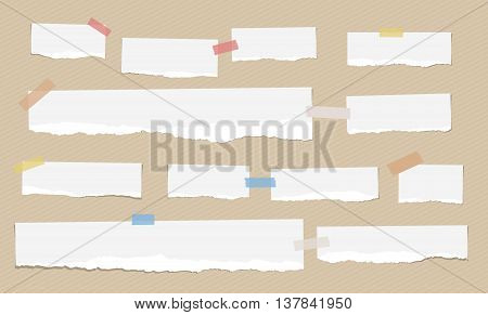 Pieces of white torn note paper with colorful adhesive, sticky tape are stuck on brown diagonal background.