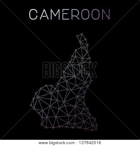 Cameroon Network Map. Abstract Polygonal Map Design. Network Connections Vector Illustration.