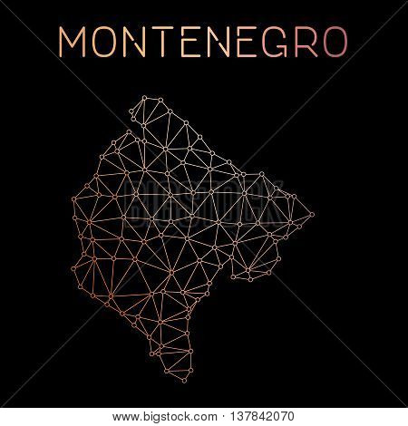 Montenegro Network Map. Abstract Polygonal Map Design. Network Connections Vector Illustration.