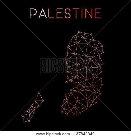 Palestine Network Map. Abstract Polygonal Map Design. Network Connections Vector Illustration.