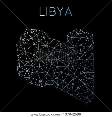 Libya Network Map. Abstract Polygonal Map Design. Network Connections Vector Illustration.