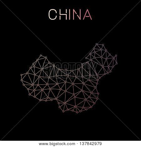 China Network Map. Abstract Polygonal Map Design. Network Connections Vector Illustration.