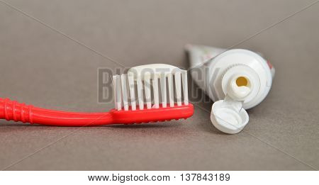 toothpaste and brush closeup, dental care concept.