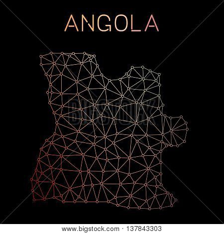 Angola Network Map. Abstract Polygonal Map Design. Network Connections Vector Illustration.