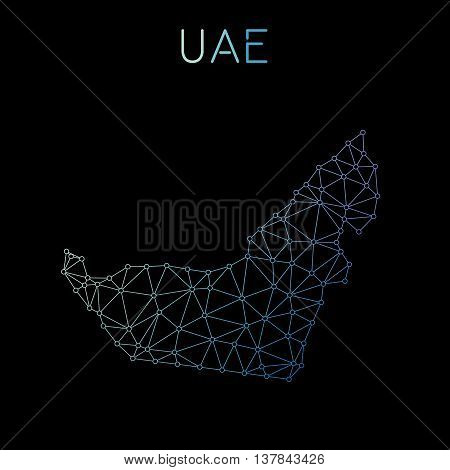 United Arab Emirates Network Map. Abstract Polygonal Map Design. Network Connections Vector Illustra
