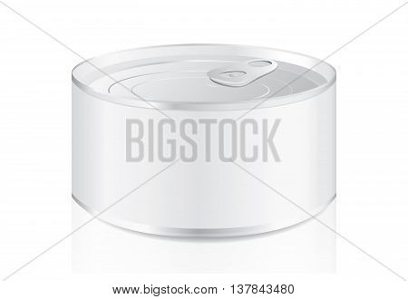 Aluminum can blank label isolated on white background. Ideal for food and other