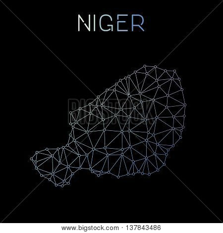 Niger Network Map. Abstract Polygonal Map Design. Network Connections Vector Illustration.
