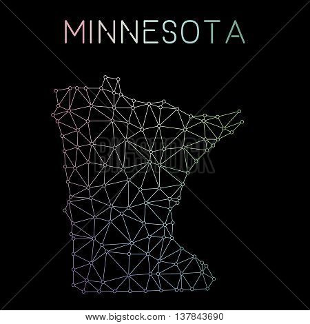 Minnesota Network Map. Abstract Polygonal Us State Map Design. Network Connections Vector Illustrati