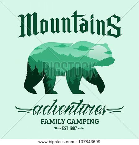 Vector mountains adventures logo. Tourism or camping icon for tourism organizations outdoor events and camping leisure. Mountain landscape inscribed in bear silhouette.