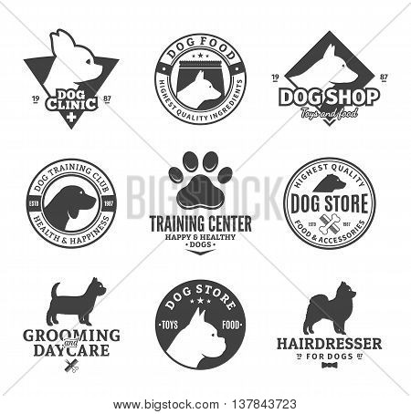 Set of vector dog logo and icons for dog club or shop grooming training food or veterinary clinic.