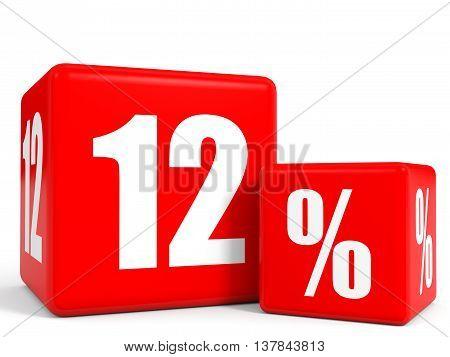 Red Sale Cubes. Twelve Percent Discount.