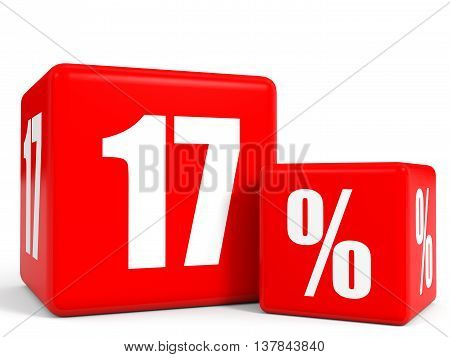 Red Sale Cubes. Seventeen Percent Discount.