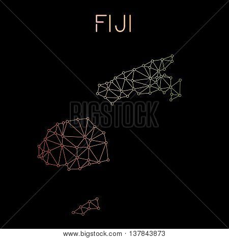 Fiji Network Map. Abstract Polygonal Map Design. Network Connections Vector Illustration.