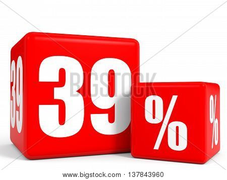 Red Sale Cubes. Thirty Nine Percent Discount.