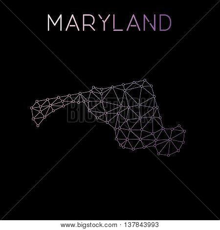 Maryland Network Map. Abstract Polygonal Us State Map Design. Network Connections Vector Illustratio