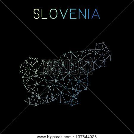 Slovenia Network Map. Abstract Polygonal Map Design. Network Connections Vector Illustration.