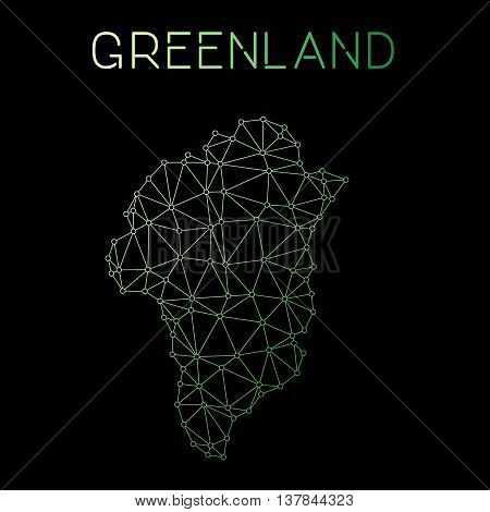 Greenland Network Map. Abstract Polygonal Map Design. Network Connections Vector Illustration.
