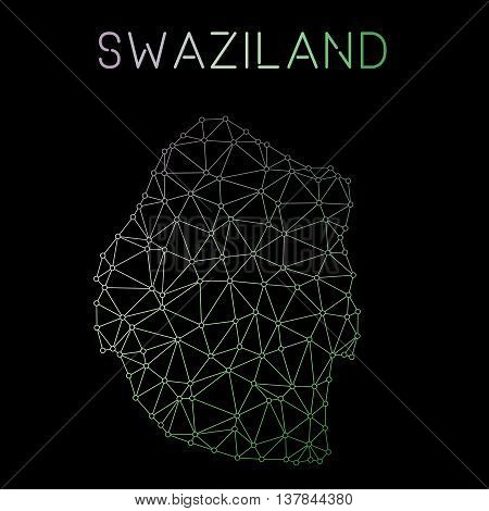 Swaziland Network Map. Abstract Polygonal Map Design. Network Connections Vector Illustration.