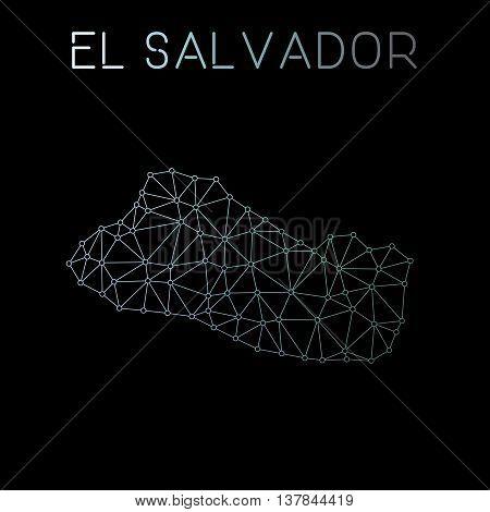 El Salvador Network Map. Abstract Polygonal Map Design. Network Connections Vector Illustration.