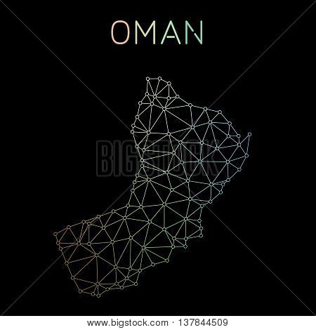 Oman Network Map. Abstract Polygonal Map Design. Network Connections Vector Illustration.